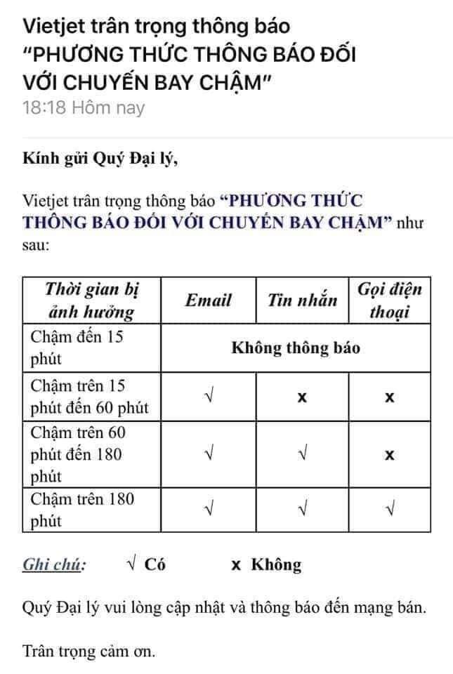 hang khong gia re delay duoi 1 gio khach se khong duoc nhan tin thong bao