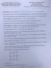 Đề thi môn toán tuyển sinh lớp 10 vào trường Phổ thông Năng khiếu TP.HCM