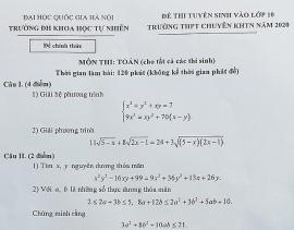 Đề thi môn toán tuyển sinh lớp 10 trường chuyên Khoa học tự nhiên
