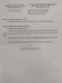 Đề thi ngữ văn tuyển sinh lớp 10 vào THPT chuyên Khoa học Xã hội và Nhân văn