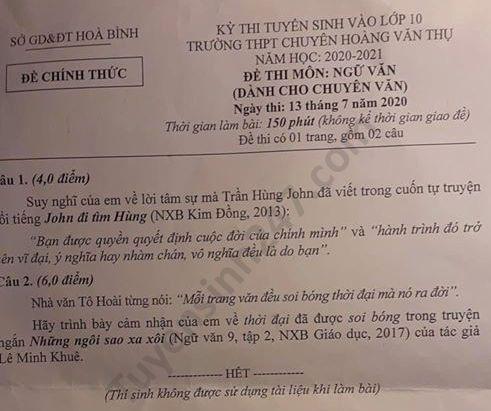 Đề thi Ngữ văn tuyển sinh lớp 10 vào THPT Chuyên Hoàng Văn Thụ tỉnh Hòa Bình năm 2020