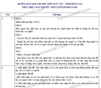 Đáp án đề thi Ngữ văn tuyển sinh lớp 10 vào THPT tỉnh Đồng Nai năm 2020