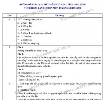 Đáp án đề thi Ngữ văn tuyển sinh lớp 10 vào THPT tỉnh Nam Định năm 2020