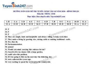 Đáp án đề thi Anh văn tuyển sinh lớp 10 vào THPT tỉnh Bình Thuận năm 2020