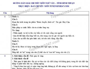 Đáp án đề thi Ngữ văn tuyển sinh lớp 10 vào THPT tỉnh Bình Thuận năm 2020