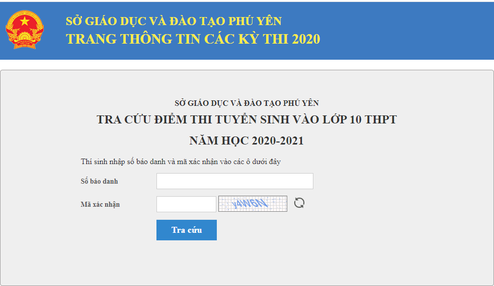Tra cứu điểm thi tuyển sinh lớp 10 Phú Yên năm 2020
