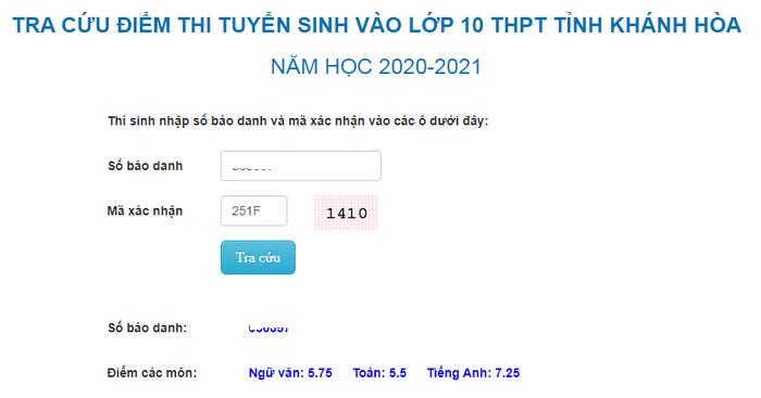Tra cứu điểm thi tuyển sinh lớp 10 Khánh Hòa năm 2020