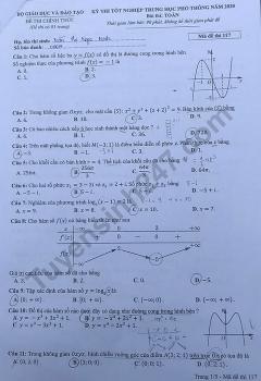 Gợi ý đáp án môn Toán mã đề 117 thi tốt nghiệp THPT quốc gia 2020