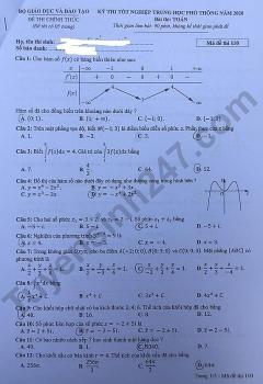 Gợi ý đáp án môn Toán mã đề 110 thi tốt nghiệp THPT quốc gia 2020