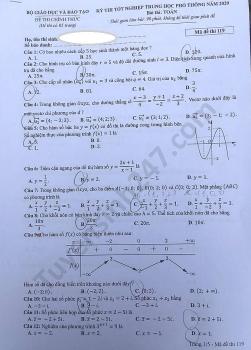 Gợi ý đáp án môn Toán mã đề 119 thi tốt nghiệp THPT quốc gia 2020