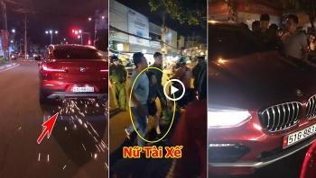 Tin tức tai nạn giao thông sáng 29/8: BMW gây tai nạn, nữ tài xế đạp ga điên cuồng bỏ chạy kéo lê xe máy tóe lửa trên đường
