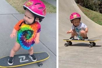 Video: Bé 13 tháng tuổi gây kinh ngạc khi sở hữu kỹ năng trượt ván điêu luyện
