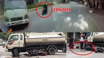 Camera giao thông: Tông trúng xe bồn đang quay đầu, xe phân khối lớn nát tươm, hai thanh niên gục tại chỗ