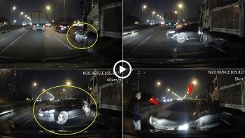 Tin tức tai nạn giao thông sáng 29/12: Vượt trên đường vành đai 3 trên cao, ô tô 4 chỗ bị xe tải tông xoay 180 độ