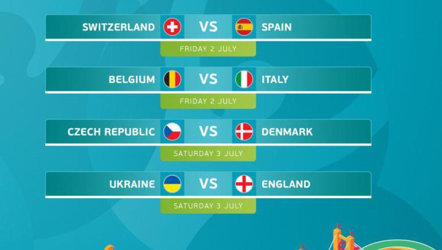 Lịch thi đấu tứ kết EURO 2021: Bỉ vs Italia, Ukraine vs Anh