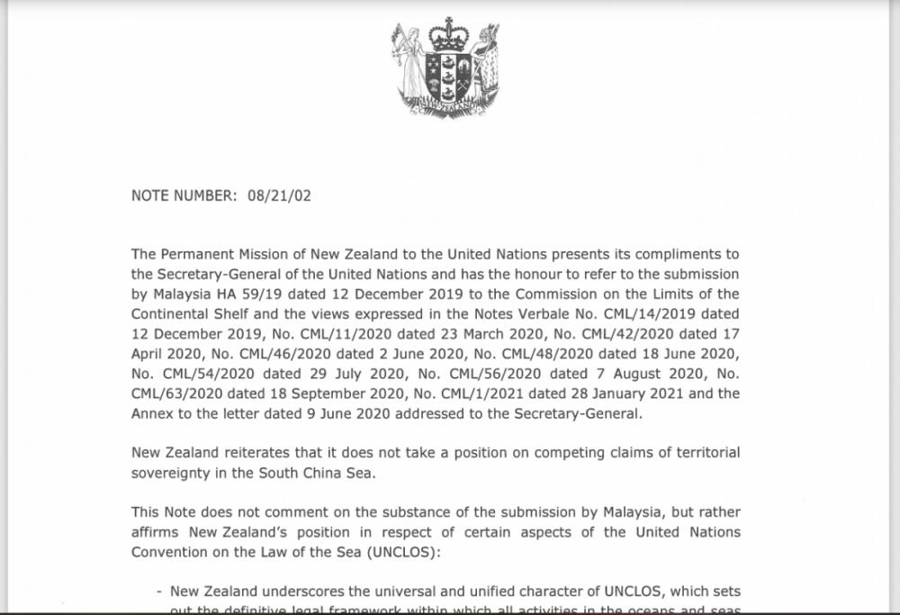 New Zealand gửi công hàm bác bỏ yêu sách quyền lịch sử ở Biển Đông