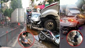 Tai nạn giao thông (TNGT) chiều 22/9: Xe container chạy lạc trên phố đâm 3 người nhập viện