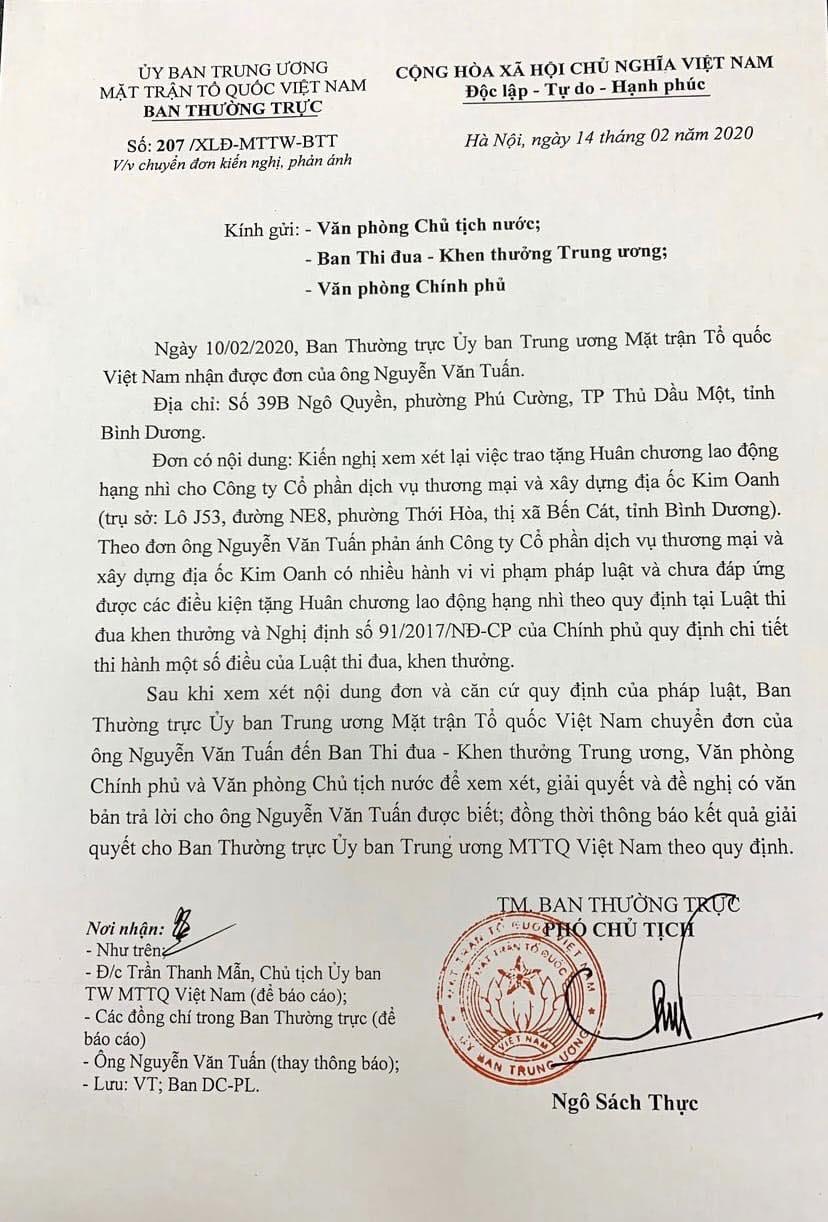 de nghi xet lai viec tang huan chuong cho cong ty kim oanh