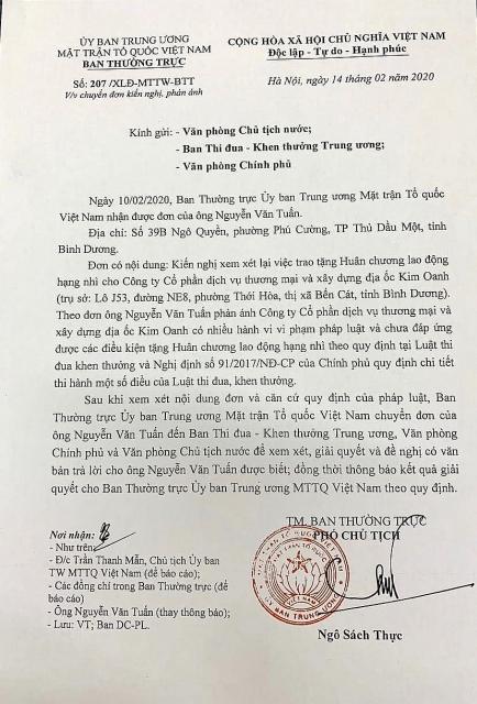 cong ty kim oanh bi de nghi xet lai viec tang huan chuong lao dong