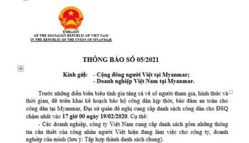 Đại sứ quán Việt Nam tại Myanmar đề nghị cung cấp danh sách công dân để triển khai kế hoạch bảo hộ công dân
