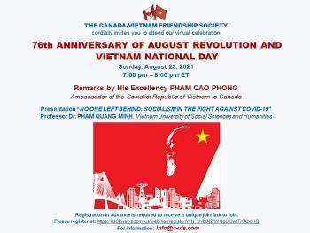 Hiệp hội Hữu nghị Canada-Việt Nam kỷ niệm 76 năm Cách mạng tháng Tám và Quốc khánh Việt Nam