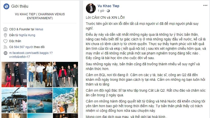 Vũ Khắc Tiệp xin lỗi vì làm loạn khi cách ly Covid-19, tạm dừng dùng Facebook