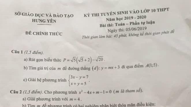 goi y dap an de thi tuyen sinh lop 10 mon toan so gddt hung yen nam 2019