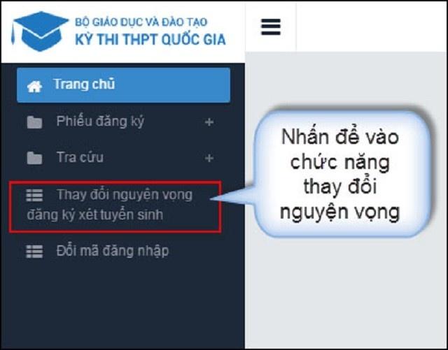 huong dan cach thay doi nguyen vong xet tuyen dai hoc 2019