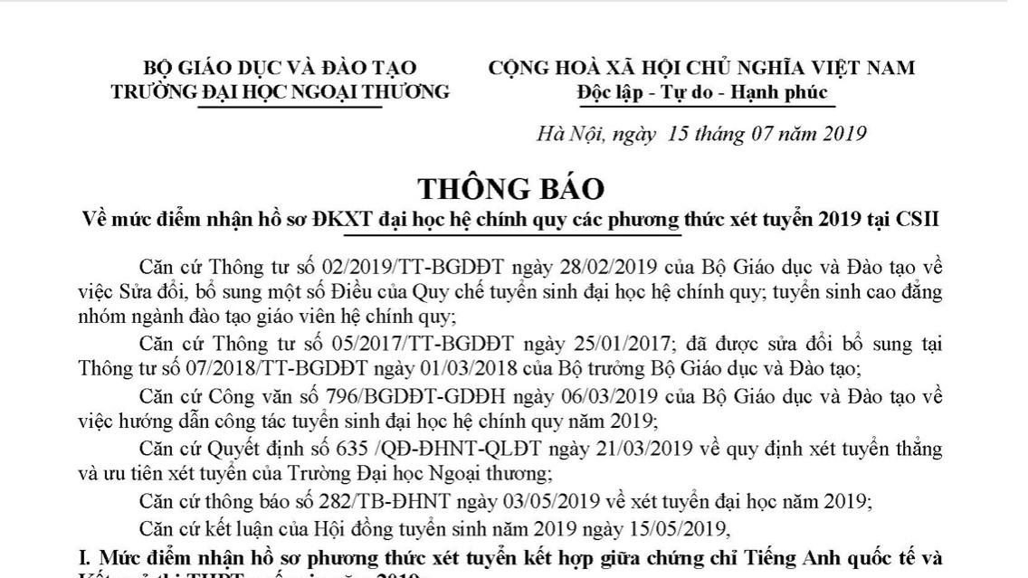 dh ngoai thuong cong bo diem san nam 2019
