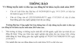 Đại học Công nghệ Sài Gòn dừng tuyển sinh hệ cao đẳng từ 1/7/2019