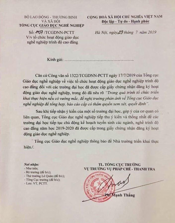 bo lao dong cho phep 45 truong dai hoc tiep tuc tuyen sinh he cao dang nam 2019