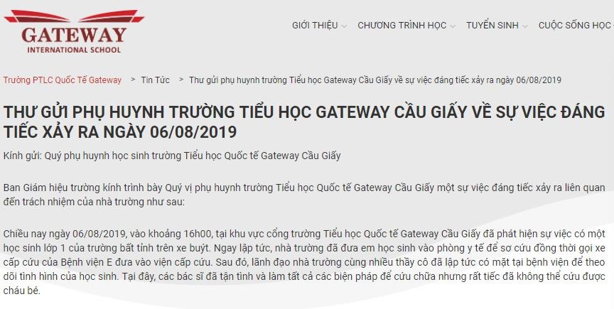 sau vu hoc sinh tu vong tren xe dua don truong gateway thong bao hoc tap binh thuong
