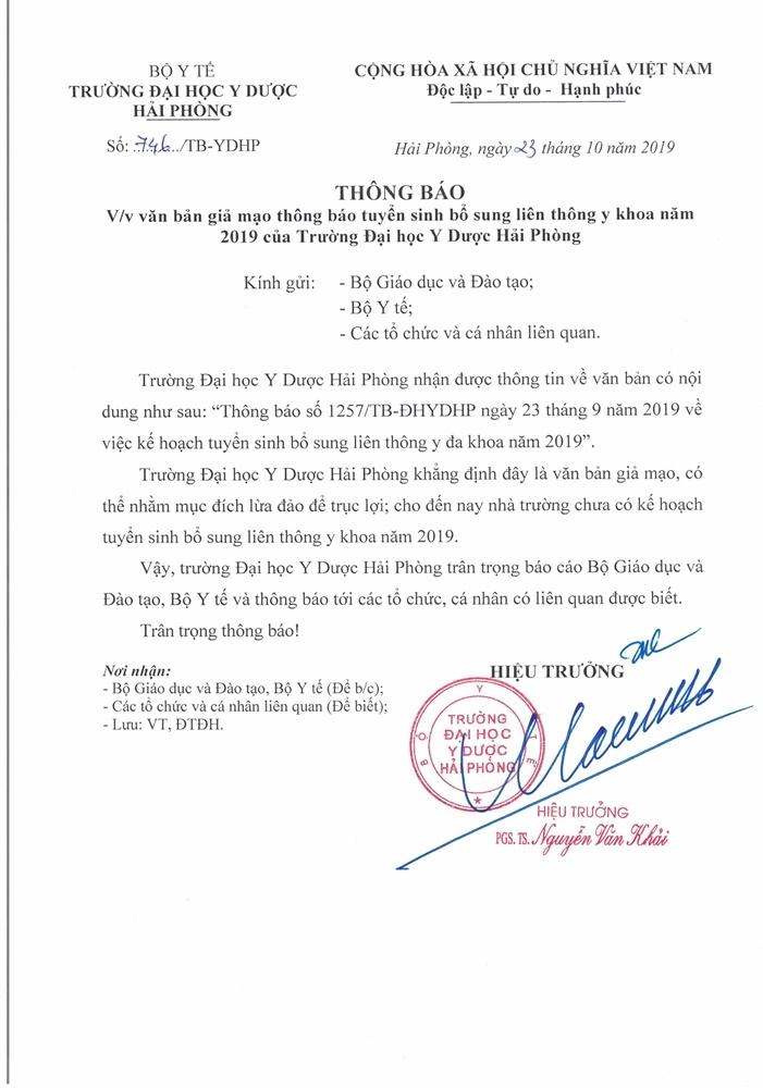 van ban gia mao dai hoc y duoc hai phong xet tuyen bo sung nam 2019