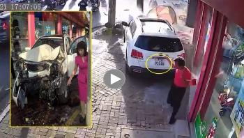 Đạp nhầm chân ga, nữ tài xế gây tai nạn liên hoàn