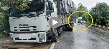 Vượt ẩu khi trời mưa, xe tải gây hoạ cho xe bồn