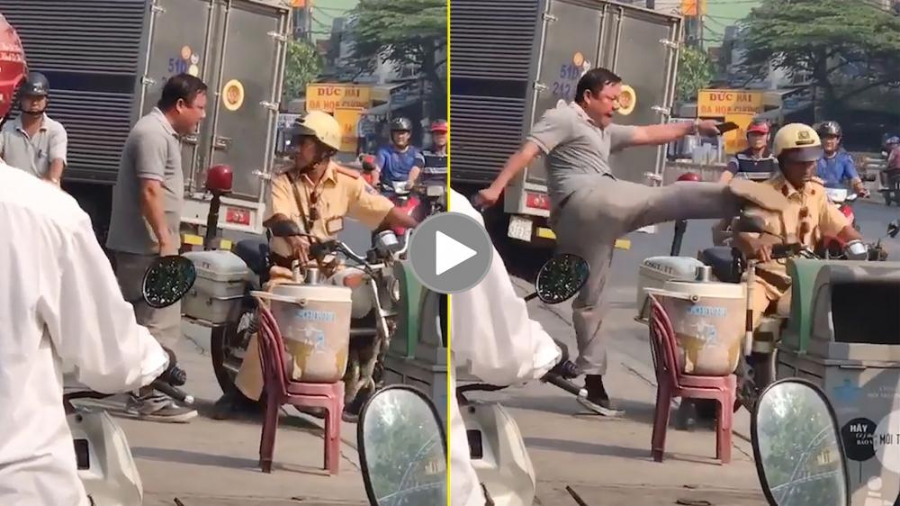 Xác minh clip người đàn ông tát, giơ chân đạp CSGT