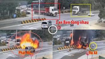 Khoảnh khắc 2 xe Ben tông nhau phát nổ, tài xế nhảy ra khỏi 'biển lửa'