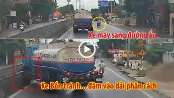 Tránh xe máy chuyển làn ẩu, xe bồn xăng dầu đâm vào dải phân cách