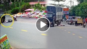Khoảnh khắc người đàn ông ngã ra đường đúng lúc xe tải đi tới