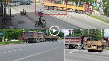Khoảnh khắc xe ben tông ngang xe container đang sang đường