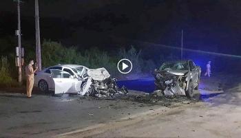 Ô tô lấn làn đâm trực diện xe bán tải khiến 3 người thương vong