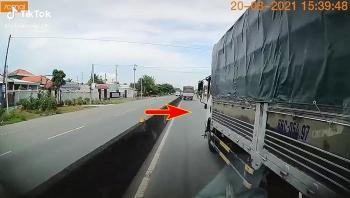 Tài xế xe tải cố tình lấn làn, chèn ép 'đá bay gương' xe đồng nghiệp rồi bỏ đi