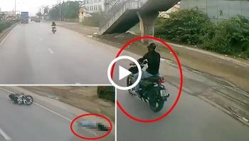 Nam thanh niên đi Exciter nằm bất động sau cú tông trực diện vào đuôi xe Ben