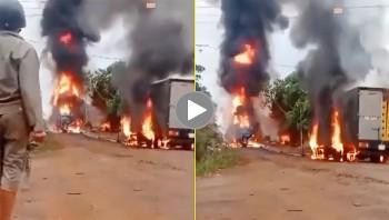 Xe bồn chở xăng bốc cháy dữ dội, một tài xế bị bỏng nặng