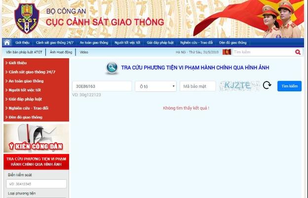 Cách tra cứu phạt nguội trên trang thông tin điện tử Cục CSGT