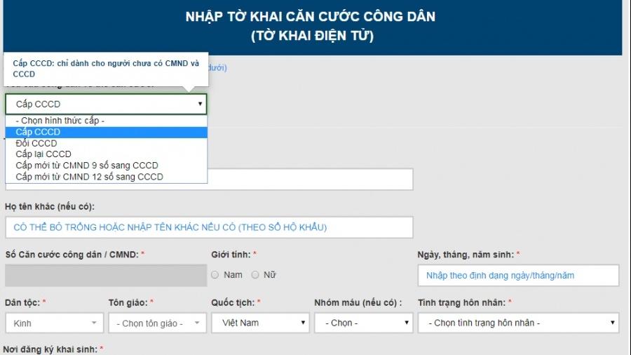 huong dan cac buoc lam the can cuoc cong dan online chi mat vai phut ngay tai nha