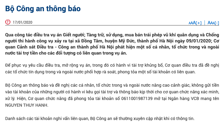 bo cong an thong tin ve viec phong toa mot so tai khoan vu dong tam