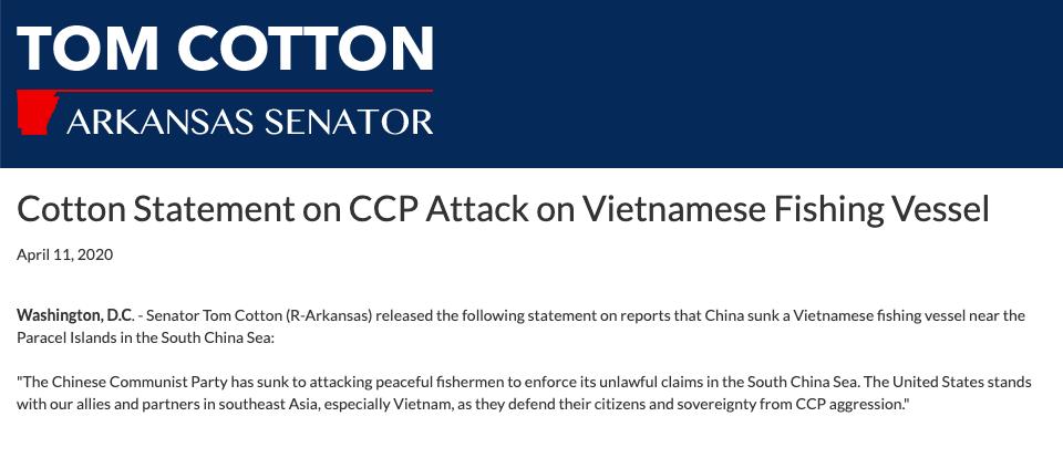 Thượng nghị sĩ Mỹ tiếp tục lên án vụ tàu Trung Quốc đâm tàu cá Việt Nam