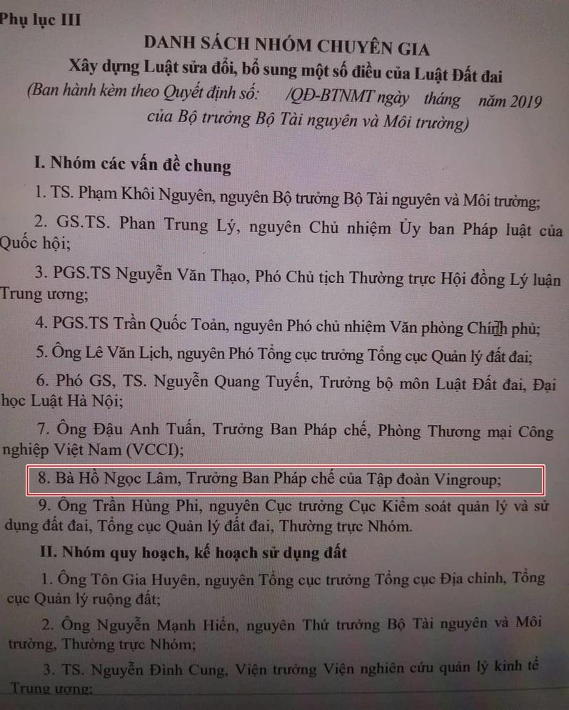 ba ho ngoc lam tham gia soan thao sua doi luat dat dai voi tu cach ca nhan hay dai dien vingroup