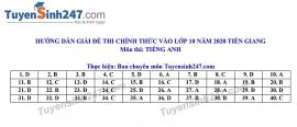 Đáp án đề thi Anh văn tuyển sinh lớp 10 vào THPT tỉnh Tiền Giang năm 2020